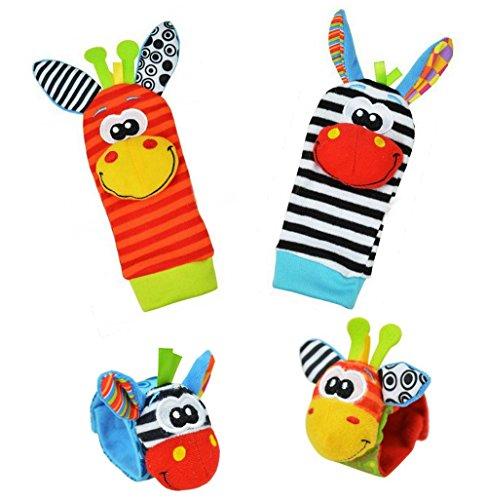 Baby Learning Fun - Animal Wrist and Sock Rattle Soft Developmental Toy Gift Set 4 Pcs - Zebra Giraffe