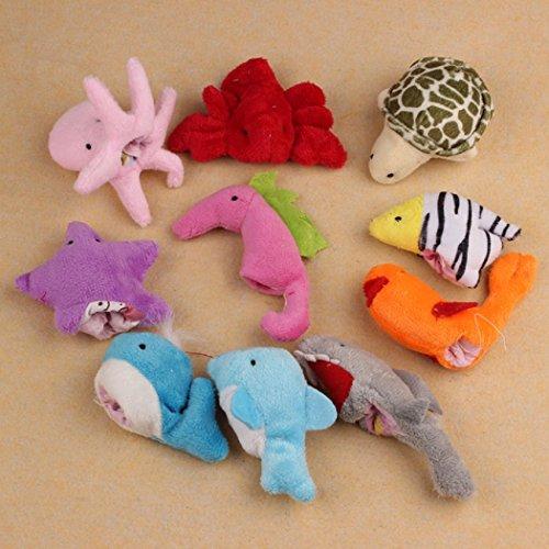 FEITONGTM 10Pcs Ocean Soft Animal Puppet Baby Girl Boy Finger Toys Plush Toy