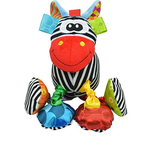 Infant Baby Soft Animal Vibrating Car Seat Stroller Plush Toys Hanging Bell Rattles Doll - Zebra