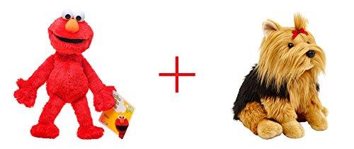 Playskool Sesame Street Elmo Jumbo Plush and Toys R Us Plush 105 inch Yorkie - Bundle