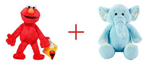Playskool Sesame Street Elmo Jumbo Plush and Toys R Us Plush 10 inch Baby Elephant - Blue - Bundle