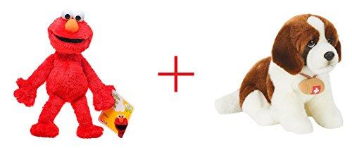 Playskool Sesame Street Elmo Jumbo Plush and Toys R Us Plush 10 inch St Bernard Dog - Brown and White - Bundle