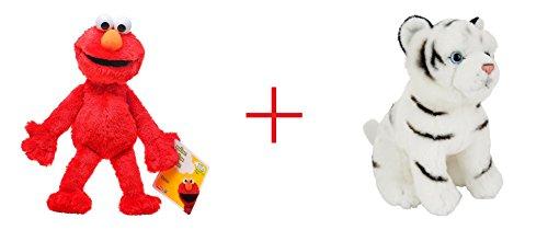 Playskool Sesame Street Elmo Jumbo Plush and Toys R Us Plush 75 inch Tiger - White - Bundle