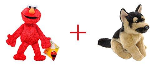 Playskool Sesame Street Elmo Jumbo Plush and Toys R Us Plush 9 inch German Shepherd - Black and Tan - Bundle