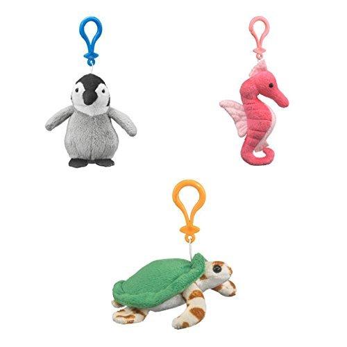 Sea Animals Bundle Emperor Penguin Sea Horse Sea Turtle - Stuffed Animal Backpack Clip Toy Keychains - Wildlife Artists