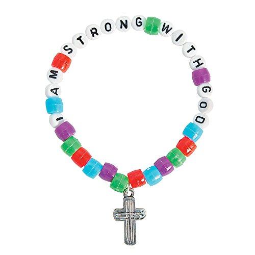 Fun Express - I Am Strong with God Pony Bead Bracelet - Craft Kits - Kids Jewelry Craft Kits - Kids Bracelet - 12 Pieces