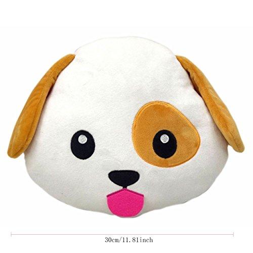 Thenese Animal Emoji Smiley Emoticon Round Cushion Pillow Stuffed Cute Plush Soft Toy Doll Cat Dog Bunny Piggy Unicorn Cow Car Home Office Accessory 30cm Pig