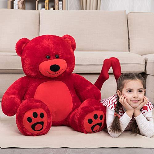 WOWMAX 3 Foot Giant Teddy Bear Daney Cuddly Stuffed Plush Animals Teddy Bear Toy Doll for Birthday Christmas Red 36 Inches