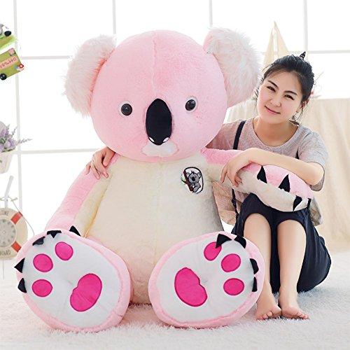 seemehappy Fluffy Koala Stuffed Toy Soft Koala Doll Birthday Gifts 120CM Pink