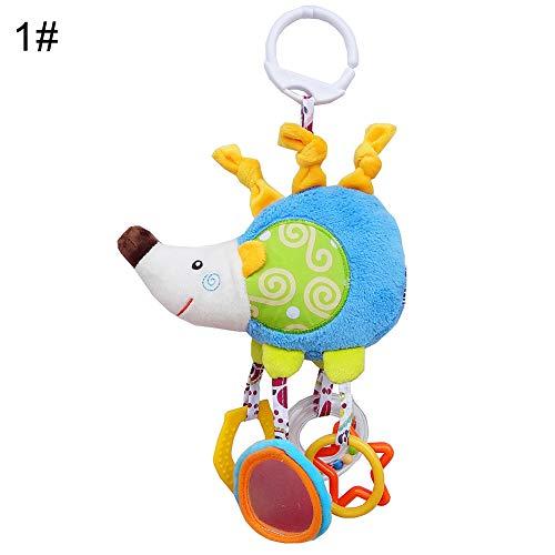 Kukakoo Super Soft Plush Doll Stuffed Animal Toy丨Newborn Baby Crib Hanging Cartoon Animal Plush Doll Hand Bell Infant Rattle - Hedgehog丨Sleeping Kawaii PillowGift for KidsCouplesFriends