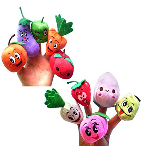 10PCS Cute Popular Fruit Vegetable Finger Puppets Funny Plush Toys Kids Christmas Gifts Toys
