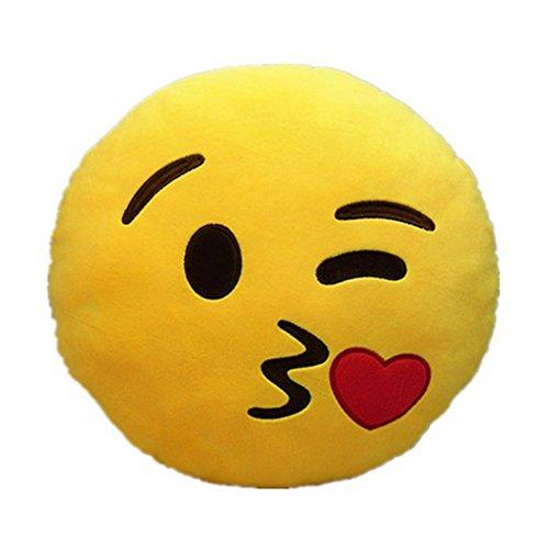 ABADA MATASA Emoji Kiss Smiley Emoticon Childrens Funny Plush Toys Pillows Yellow Round 32 cm x 32 cm