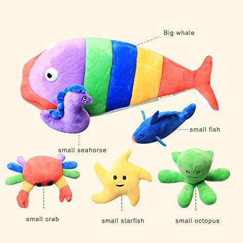 fineshelf Rainbow Fish Plush Toy 6 Piece Set ,Baby Plush Doll Educational Toy Set - Whale Plush Toys