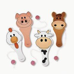 12 Wooden Farm Animal Paddle Balls