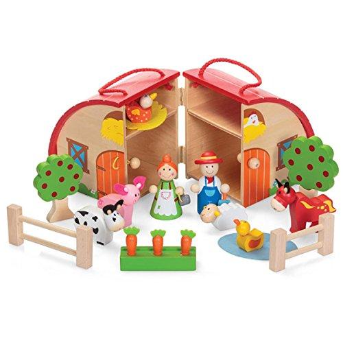 Kids Farmhouse Theme Fun Play Wooden Farm Animal Figures Toy Playset With Case