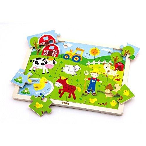 Wooden Farm Animals Tray Puzzle 24 Piece by Viga