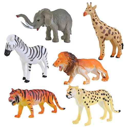 NUOLUX 6pcs Plastic Model Tiger Leopard Lion Giraffe Zebra Elephant Wild Animals Toy