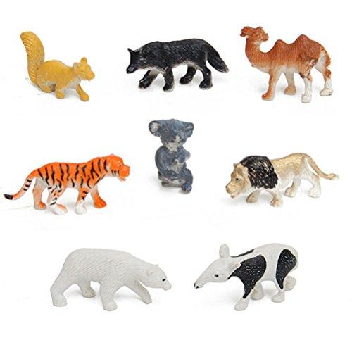 Plastic Wild Animals Action Figures Toy Set- including TigerLionCamelPolar BearWolfhoundKoalaKangarooAnteater
