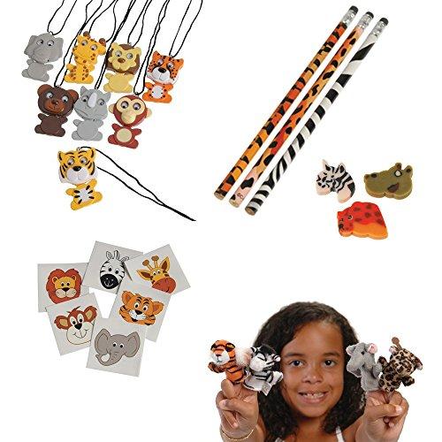 Safari Wild Animal Toy Party Favor Supplies 324 Piece Set for 12 Bundle