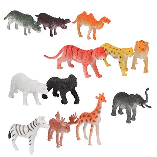 Set Plastic Figures Models Lion Tiger Leopard Deer Bear Wild Animal Toy 12pcs Multi-color