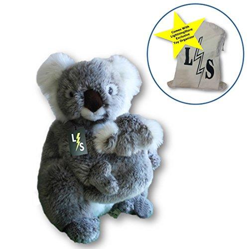 LightningStore Adorable Cute Mother Baby Koala Stuffed Animal Doll Realistic Looking Plush Toys Plushie Childrens Gifts Animals  Toy Organizer Bag Bundle