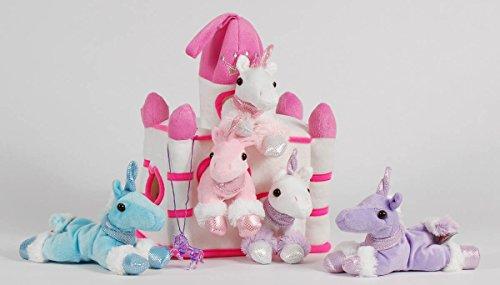 12 White Castle with 5 Stuffed Unicorns and Bonus Unicorn Pendant Necklace