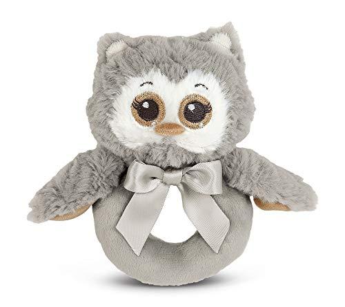 Bearington Baby Lil Owlie Plush Stuffed Animal Gray Owl Soft Ring Rattle 55
