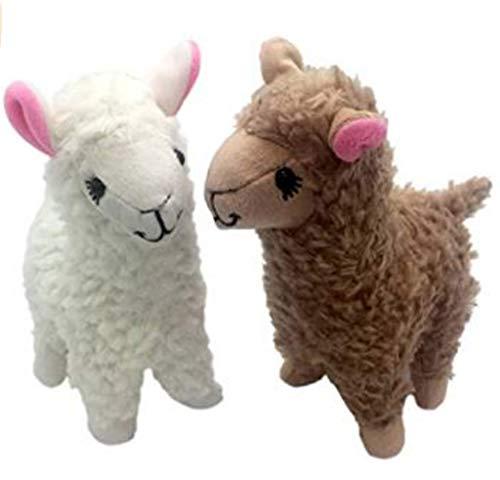 Dubiland 2pcs 9inch Stuffed Alpaca Plush Toys Doll White OneSize