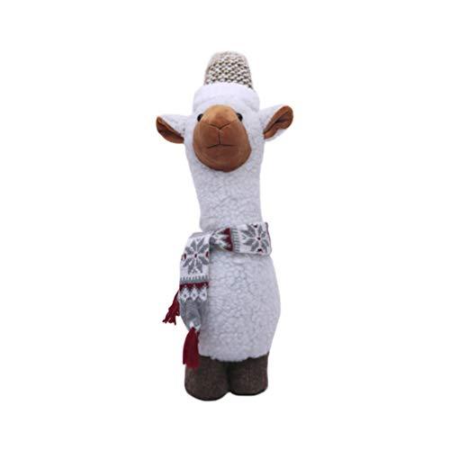 LIOOBO Llama Stuffed Animal Cute Llama Plush Toy Alpaca Plush Wearing Winter Scarf and Christmas hat Grey