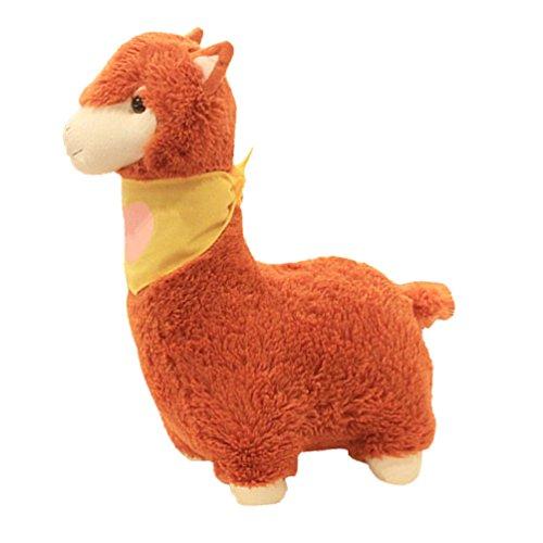 Yepmax Cute Stuffed Animals Chestnut Alpaca Plush Toys with Yellow Scarf 196 Inch