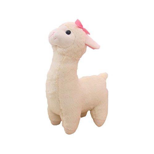 Yepmax Cute Stuffed Animals White Alpaca Plush Toys with Tie 17 Inch