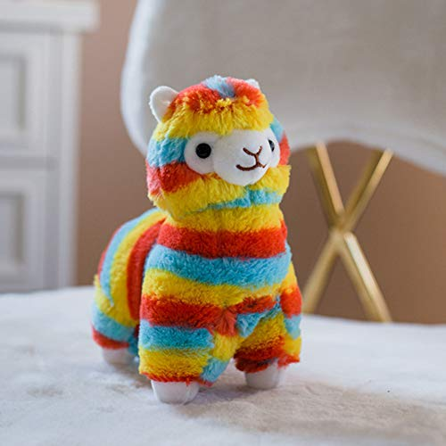seemehappy 8 Bright Striped Fluffy Alpaca Plush Toy Cuddly Stuffed Animal Toy Love Gift Birthday Gift