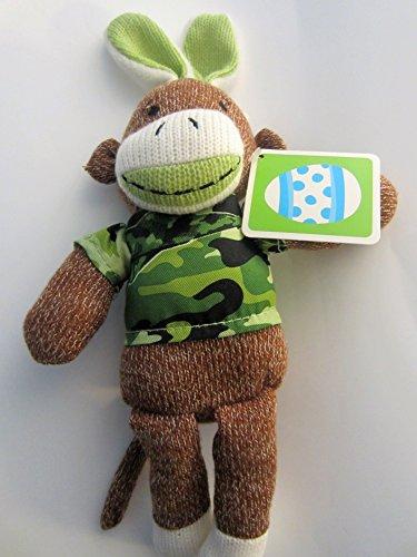 12 Dan Dee Camouflage Green Sock Monkey Easter Bunny Stuffed Animal Plush Toy