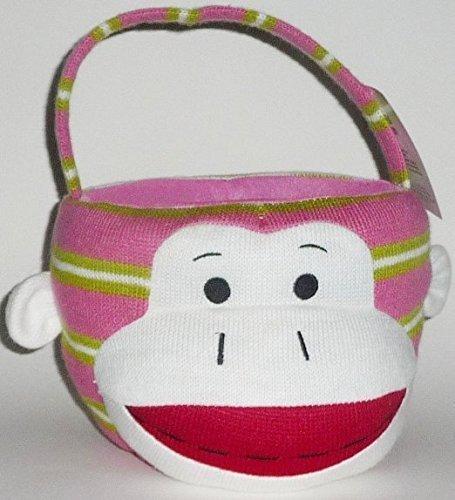 Sock Monkey Plush Easter or Halloween Basket - Pink Green Stripe by Dan Dee