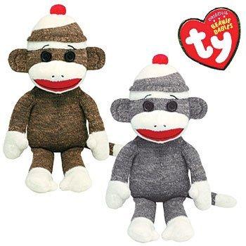 TY Sock Monkey Plush Beanie Babies Set of 2 - Brown Grey