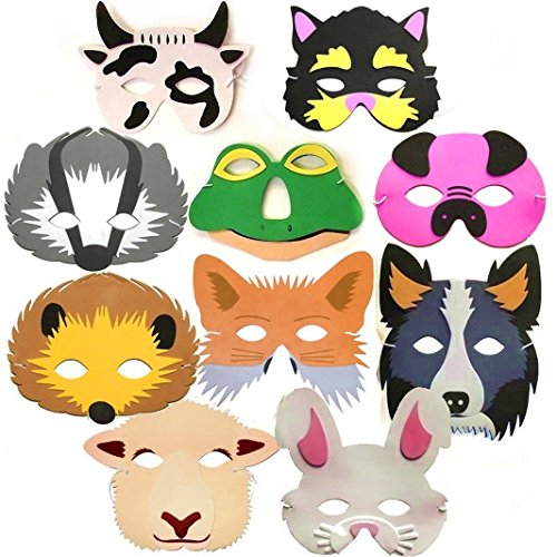 10 Woodland Farm Animal Foam Childrens Face Masks made by Blue Frog Toys