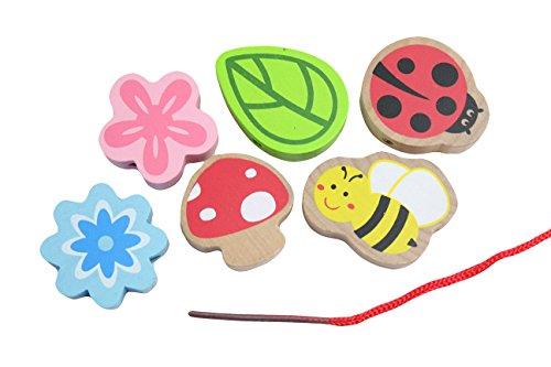 Jumbo Beginner Flower Ladybug Wood Beads Toy - Toddler Lacing First Lacing OT Jumbo Large Beads Montessori Natural Waldorf