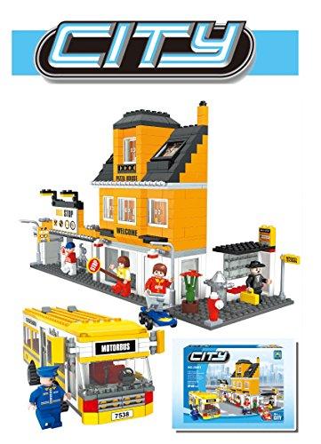 Ausini City Pizza Store Plaza with Transpiration Bus Building Bricks Kids Blocks Set 546 Pieces