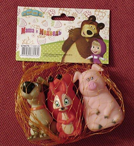 Masha and the Bear 3pcs of Squeaky floating bath toys Dog Pig Squirrel Mashas Friends