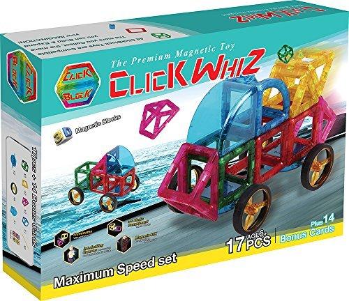 ClickWhiz 3-D Magnetic Construction Toy-17 Piece Maximum Speed Set