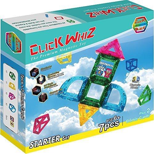 ClickWhiz 3-D Magnetic Construction Toy-7 Piece Starter Set