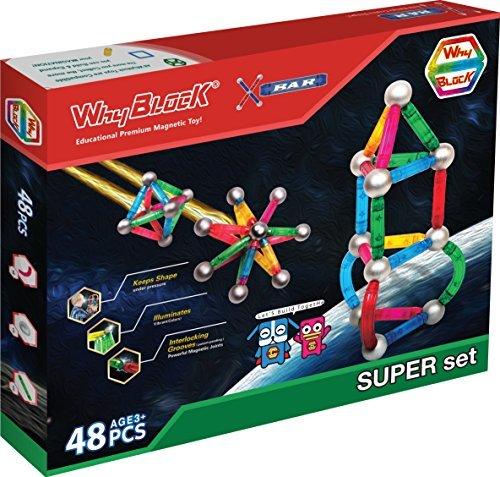 WhyBlock X-BAR Super Set Educational Magnetic Construction Toy  48 Piece