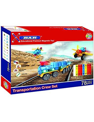 X-Bar Premium Magnetic Construction Toy-78 Piece Transportation Crew Set