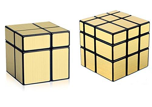 D-FantiX Shengshou Cube Mirror 2x2 3x3 Unequal Cube Mirror Blocks Puzzle Games Toys Christmas Gifts for Kids Bundle Set of 2  Golden