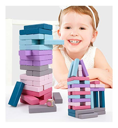 Jeeke 48PC Classic Colorful Cartoon Tower Stacking Games Building Blocks Wooden Preschool Geometric Blocks Stacking Games for Kids Toddlers Multicolor