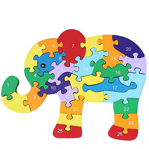 Annong Cartoon Elephant A-Z English Alphabet Wood Puzzle Animal Jigsaw Puzzles